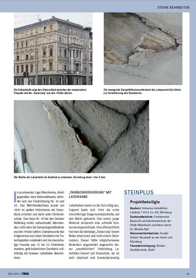 sandstein freilegen in mannheim bericht in der stein 502. Black Bedroom Furniture Sets. Home Design Ideas